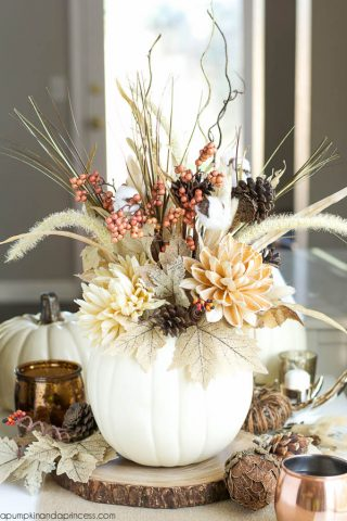Pumpkin Vase Thanksgiving Centerpiece